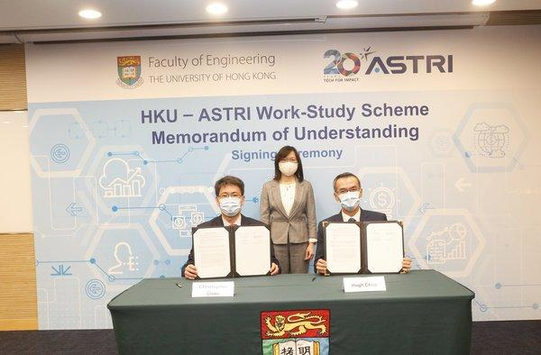 (Left) Professor Christopher Chao, Dean of Engineering of The University of Hong Kong, and Mr Hugh Chow, CEO of ASTRI, sign an agreement to launch the Work-Study Scheme, witnessed by Commissioner of Innovation and Technology Ms Rebecca Pun, JP.
