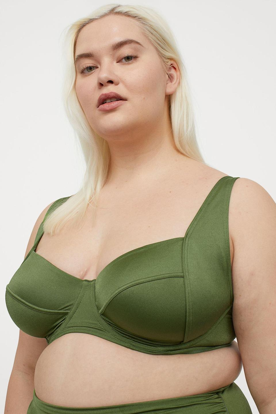 <p>This <span>H&amp;M Unpadded Bikini Top</span> ($25) features wide, adjustable straps and underwire cups for more definition and support. Add the matching <span>High-Waist Bikini Bottoms</span> ($20) to your cart too.</p>