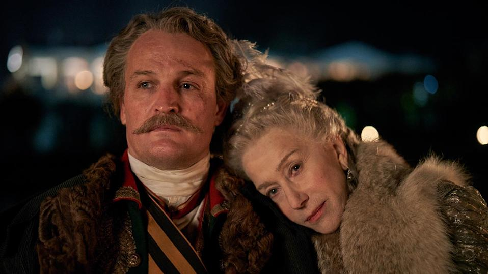 Jason Clarke and Helen Mirren are lovers in Sky Atlantic's new historical series 'Catherine the Great'. (Credit: Sky Atlantic)