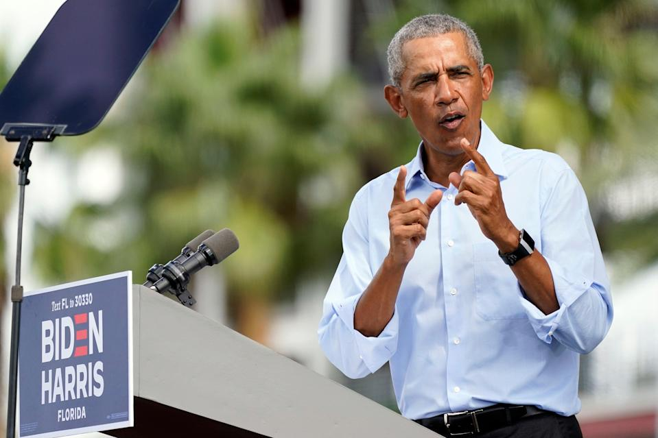 Former President Barack Obama speaks at a rally as he campaigns for Democratic presidential candidate former Vice President Joe Biden Tuesday, Oct. 27, 2020, in Orlando, Fla. (AP Photo/John Raoux) (AP)