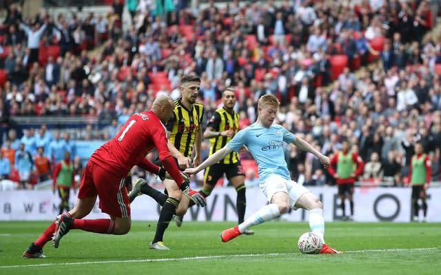 Manchester City thrashed Watford in last year's final (Nick Potts/PA)