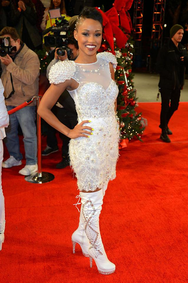 """Paige Thomas arrives  at Fox's """"The X Factor"""" Season Finale Night 1 at CBS Televison City on December 19, 2012 in Los Angeles, California."""