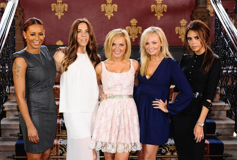 The Spice Girls (from left to right) Melanie Brown (Mel B), Melanie Chisholm (Mel C), Geri Halliwell, Emma Bunton and Victoria Beckham during a photocall at the St Pancras Renaissance Hotel in London to launch Viva Forever, a musical featuring songs from the Spice Girls, which will opens at the Piccadilly Theatre on the 11th December 2012.