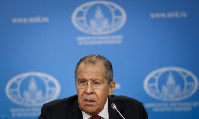 Russian Foreign Minister Sergey Lavrov speaks about his department's 2018 accomplishments during his annual roundup news conference in Moscow, Russia, Wednesday, Jan. 16, 2019. Russia's foreign minister says Moscow isn't making any bets in the controversy over British exit from the European Union. (AP Photo/Pavel Golovkin)
