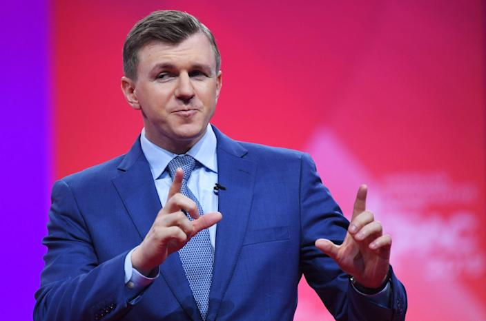 <p>Conservative political activist James O'Keefe speaks during the annual Conservative Political Action Conference (CPAC) in National Harbor, Maryland, on March 1, 2019.</p> (Photo by MANDEL NGAN/AFP via Getty Images)