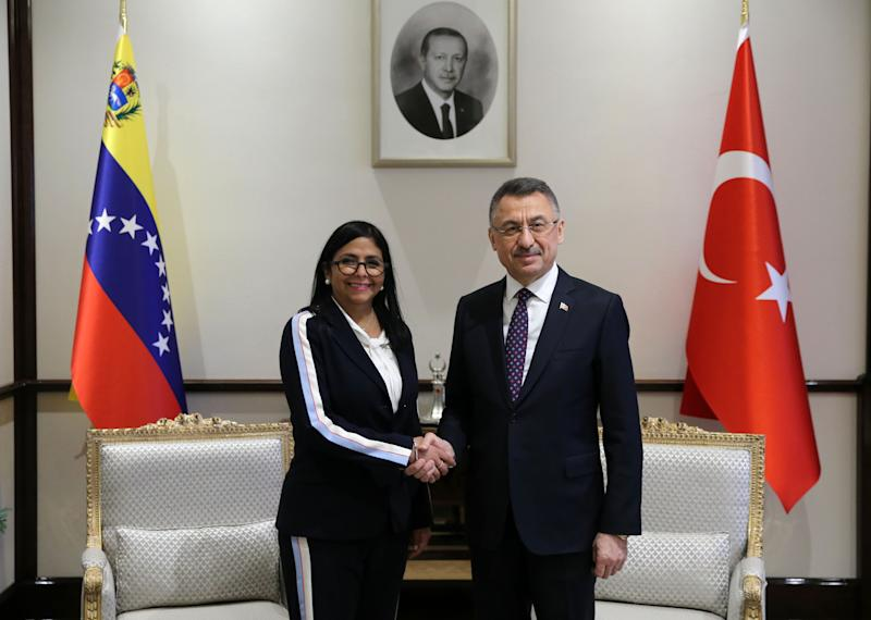 ANKARA, TURKEY - JANUARY 22: Turkish Vice President Fuat Oktay (R) meets Vice President of Venezuela Delcy Rodriguez (L ) in Ankara,Turkey on January 22, 2020. (Photo by Arda Kucukkaya/Anadolu Agency via Getty Images)