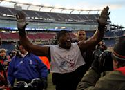FOXBORO, MA - JANUARY 10: Ray Lewis #52 of the Baltimore Ravens celebrates as he walks off of the field after their 33-14 win against the New England Patriots during the 2010 AFC wild-card playoff game at Gillette Stadium on January 10, 2010 in Foxboro, Massachusetts. (Photo by Jim Rogash/Getty Images)