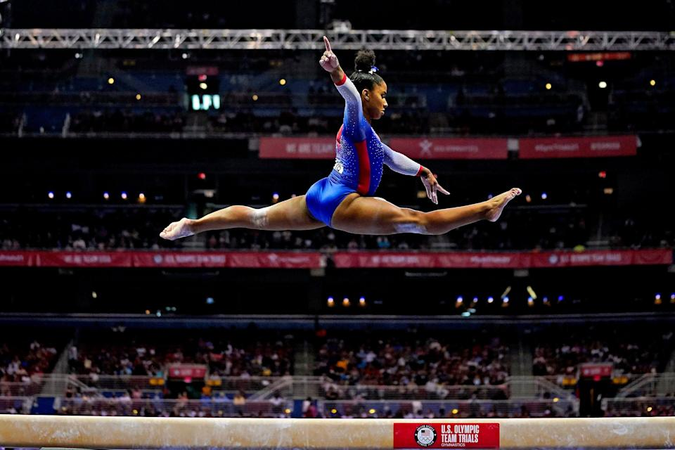 Jordan Chiles competes on the beam during the U.S. Gymnastics Olympic Trails on June 25, 2021, at The Dome at America's Center in St. Louis, Missouri.