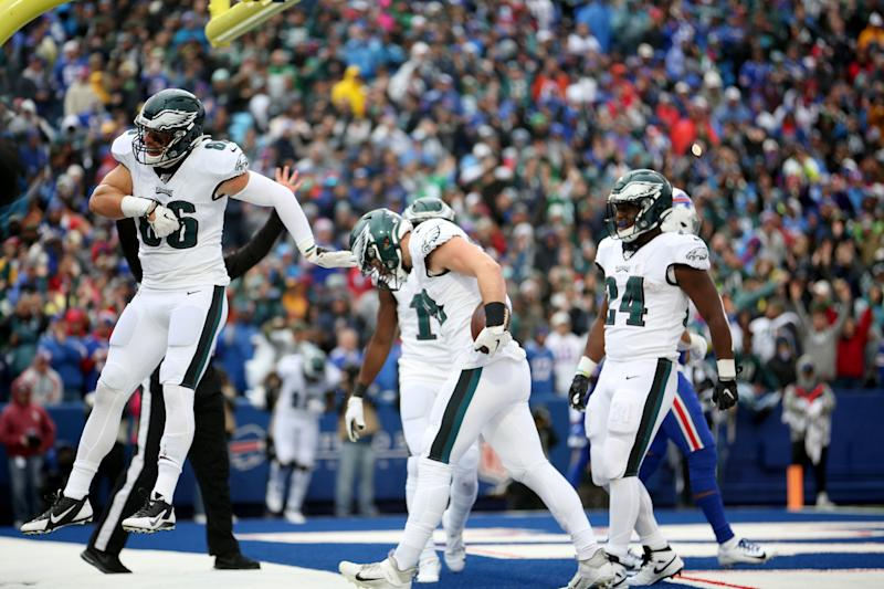 Dallas Goedert of the Philadelphia Eagles celebrates with teammates after scoring a touchdown. (Getty Images)