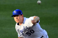 Kansas City Royals starting pitcher Kris Bubic delivers to a Chicago Cubs batter during the first inning of a baseball game at Kauffman Stadium in Kansas City, Mo., Wednesday, Aug. 5, 2020. (AP Photo/Orlin Wagner)