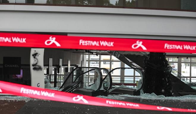 Festival Walk is not expected to open until the first quarter next year after being vandalised. Photo: Xiaomei Chen