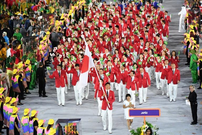 Flag-bearer Keisuke Ushiro led out the Japanese delegation at the Rio 2016 opening ceremony