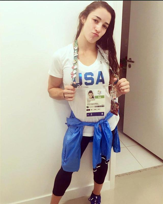 """<p>Aly Raisman, 22, is keeping busy by trading Olympic pins with other athletes. """"Pin trading like it's ma day job,"""" she wrote on Twitter. (@Aly_Raisman/Twitter) </p>"""