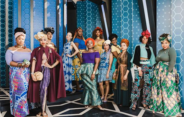 Audrey Young (center, in purple top) and 13 other women went to Disneyland adding an African flare to the looks of their favorite Disney princesses. (Photo: Madeline Barr)