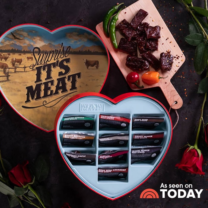 """<p><strong>jerky</strong></p><p>mancrates.com</p><p><strong>$39.99</strong></p><p><a href=""""https://go.redirectingat.com?id=74968X1596630&url=https%3A%2F%2Fwww.mancrates.com%2Fstore%2Fproducts%2Fjerky-heart&sref=https%3A%2F%2Fwww.womenshealthmag.com%2Frelationships%2Fg25752244%2Fbest-valentines-day-gifts-for-him%2F"""" rel=""""nofollow noopener"""" target=""""_blank"""" data-ylk=""""slk:Shop Now"""" class=""""link rapid-noclick-resp"""">Shop Now</a></p><p>No sweet tooth, no problem. Give the gift of jerky this year because nothing says """"I love you"""" like a solid serving of protein.</p>"""