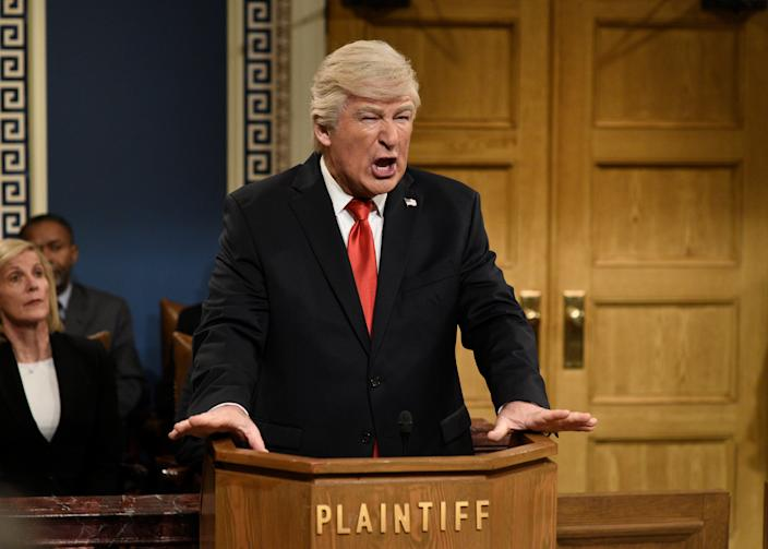 """Alec Baldwin (parodying POTUS on Saturday Night Live earlier this year) says he's """"overjoyed"""" about Trump's Election Day defeat. (Photo: Will Heath/NBC/NBCU Photo Bank via Getty Images)"""