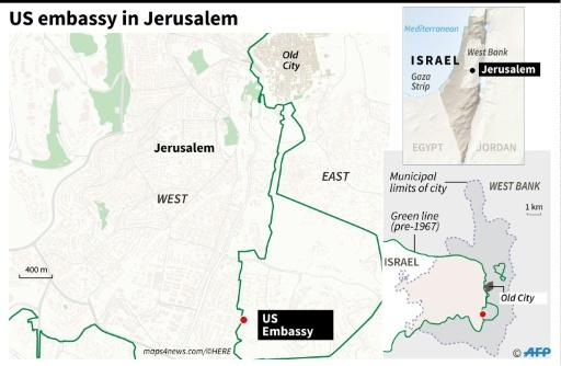 Map locating new US embassy in Jerusalem, which officially opened on Monday