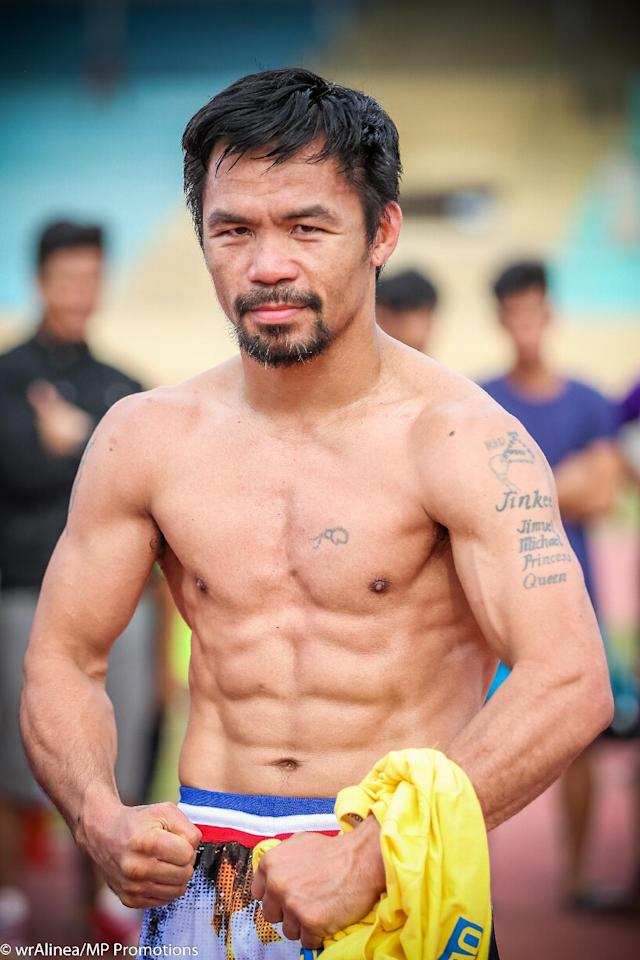 Pacquiao is forever revered as a hero in the Philippines, where he's built schools, churches and made other charitable donations. (Wendell Alinea/MP Promotions)