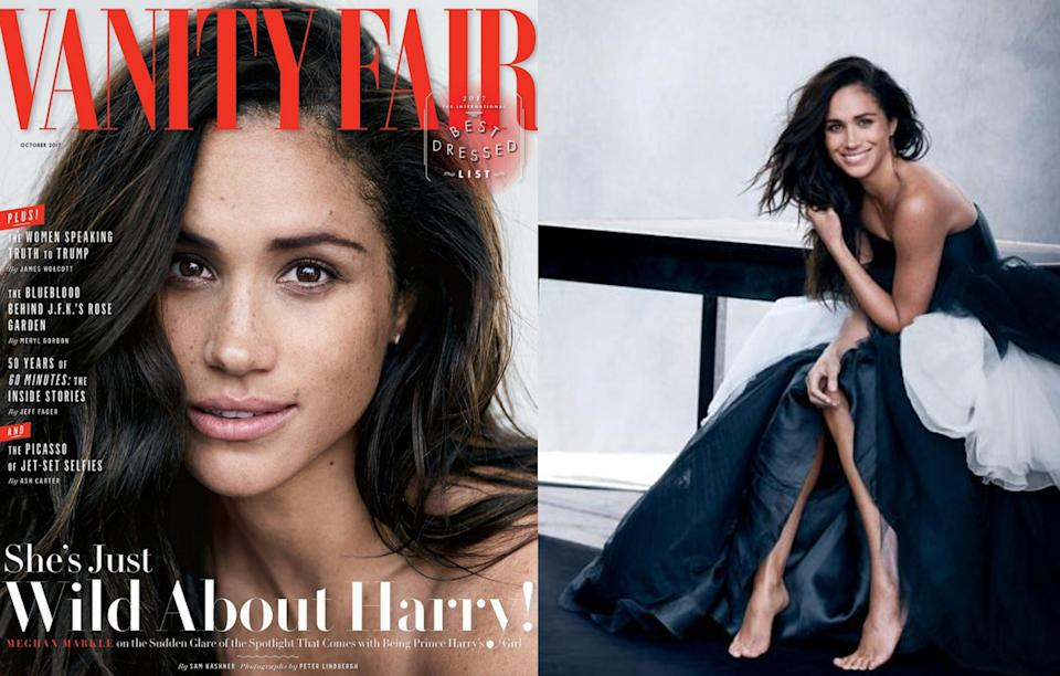 """<p>Outrage ensued when Meghan appeared on the cover of <i>Vanity Fair</i>, opening up about her royal relationship for the very first time. """"We're a couple. We're in love. I'm sure there will be a time when we will have to come forward and present ourselves and have stories to tell, but I hope what people will understand is that this is our time. This is for us,"""" she was quoted as saying.<br><i>[Photo: Vanity Fair]</i> </p>"""