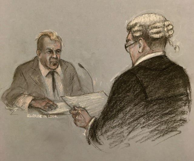 Court artist sketch of John Lydon giving evidence to barrister Edmund Cullen QC during the hearing