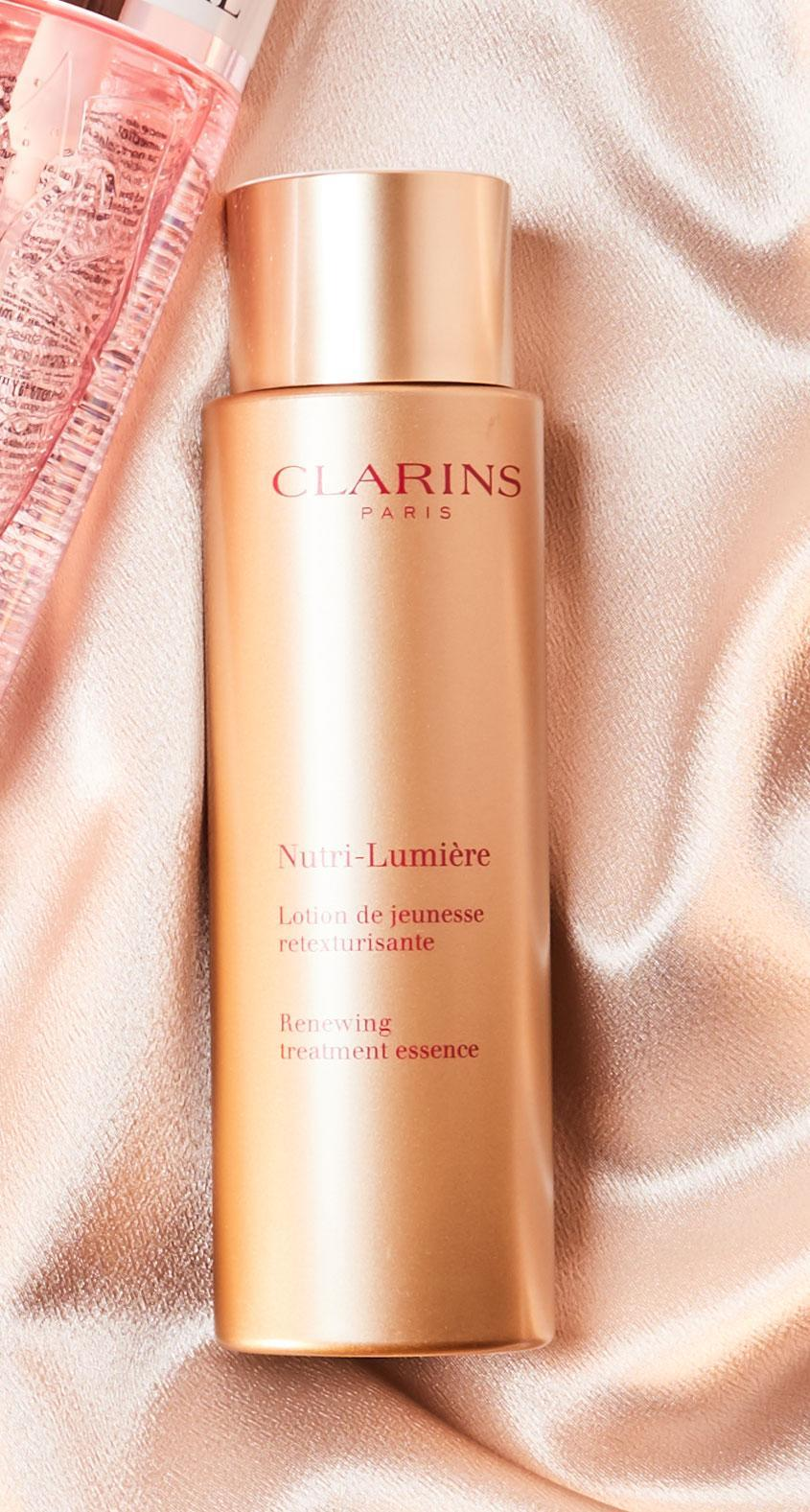 """<p>Specifically designed for mature skin, this pale-pink, milky formula utilizes oat sugars to firm and smooth. The plant-powered ingredients seek out deep wrinkles and bolster derma with antiaging nutrients.</p> <p><strong>Buy It: </strong>$63; <em><a href=""""https://click.linksynergy.com/deeplink?id=93xLBvPhAeE&mid=1237&murl=https%3A%2F%2Fshop.nordstrom.com%2Fs%2Fclarins-nutri-lumiere-renewing-treatment-essence%2F5493818&u1=SL%2C%3Cstrong%3ESummer-ProofYourSkin%3C%2Fstrong%3ECareWithaLightweight%2CHydratingEssence%2Crellis1271%2CSki%2CGal%2C7835832%2C202004%2CI"""" rel=""""nofollow noopener"""" target=""""_blank"""" data-ylk=""""slk:nordstrom.com"""" class=""""link rapid-noclick-resp"""">nordstrom.com</a></em></p>"""