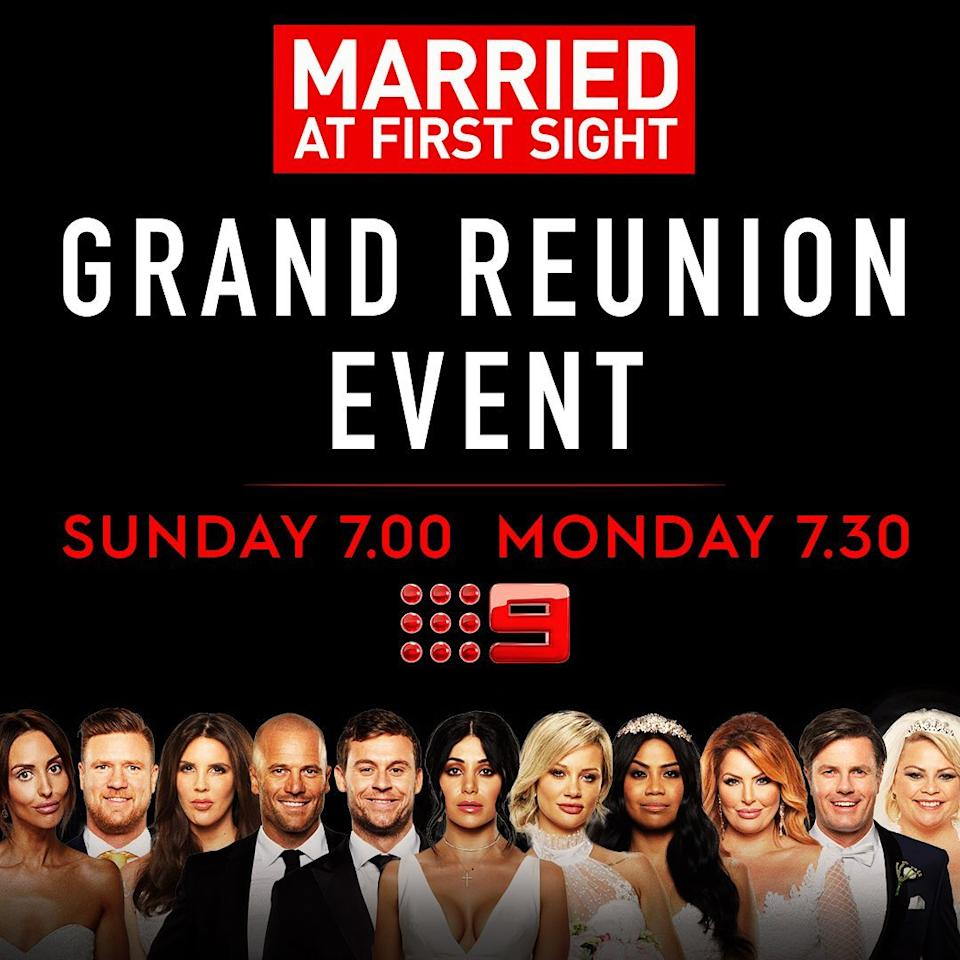 The Grand Reunion special will air over two nights. Photo: Channel Nine.