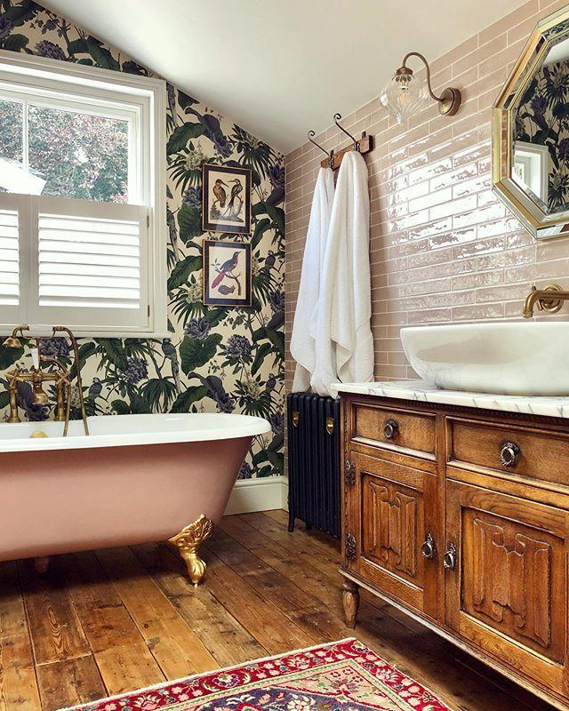 """<p>'A gold accent in a bathroom is an Instagram must, with gold taps being a popular choice. This luxe look saw a 53 per cent increase in searches since November 2019, as interior lovers looked to implement this trend.' </p><p><strong>READ MORE</strong>: <a href=""""https://www.housebeautiful.com/uk/decorate/looks/g33534221/gold-home-accessories/"""" rel=""""nofollow noopener"""" target=""""_blank"""" data-ylk=""""slk:13 gold home accessories that will give your home personality and style"""" class=""""link rapid-noclick-resp"""">13 gold home accessories that will give your home personality and style</a></p><p><a href=""""https://www.instagram.com/p/B08T2tqH1Be/"""" rel=""""nofollow noopener"""" target=""""_blank"""" data-ylk=""""slk:See the original post on Instagram"""" class=""""link rapid-noclick-resp"""">See the original post on Instagram</a></p>"""