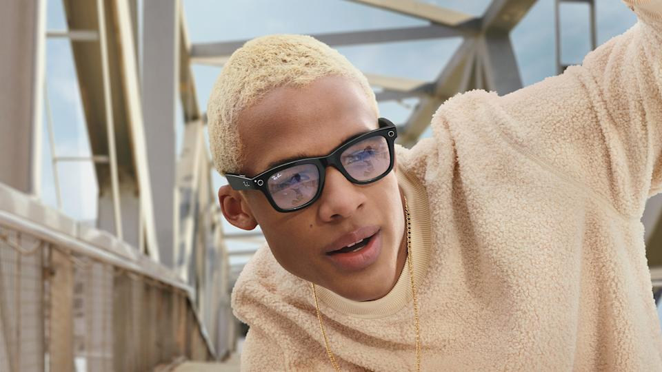 Facebook's Ray-Ban Stories smart glasses on man with wool jumper