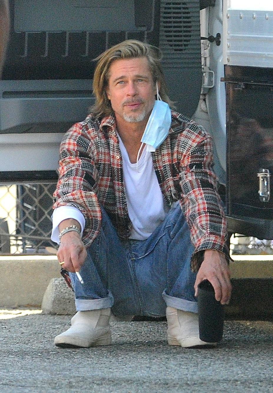 Brad Pitt delivering food to low-income families in Los Angeles.
