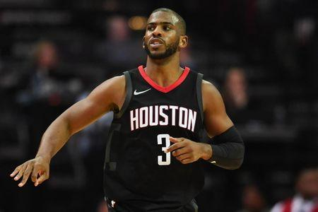 Dec 13, 2017; Houston, TX, USA; Houston Rockets guard Chris Paul (3) reacts after a three-pointer during the fourth quarter against the Charlotte Hornets at Toyota Center. Shanna Lockwood-USA TODAY Sports