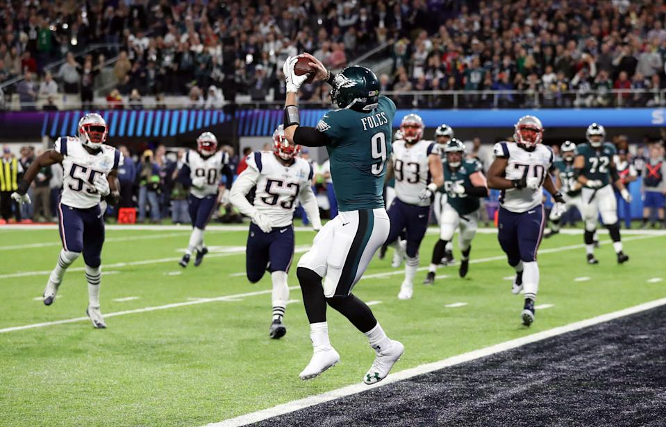 Philadelphia Eagles' quarterback Nick Foles catches a touchdown pass in Super Bowl LII. (Reuters)