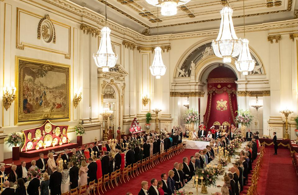 General view of the State Banquet with U.S. President Donald Trump, Britain's Queen Elizabeth and guests at Buckingham Palace in London, Britain, June 3, 2019. Dominic Lipinski/Pool via REUTERS