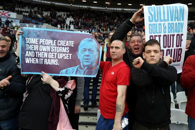 West Ham fans protest club directors Karen Brady, David Sullivan and David Gold. (Getty)