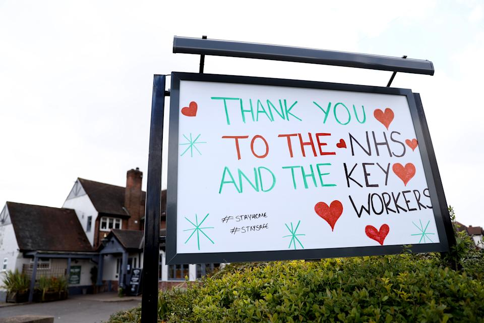 A sign outside a public house in Nottingham thanking the NHS and Keyworkers as the UK continues in lockdown to help curb the spread of the coronavirus. (Photo by Tim Goode/PA Images via Getty Images)