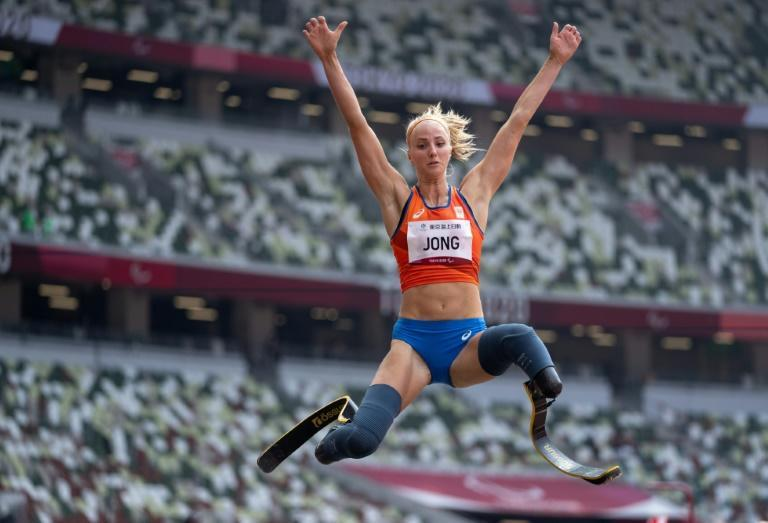 Fleur Jong of the Netherlands won the women's T64 long jump with a jump of 6.16m (AFP/Thomas LOVELOCK)