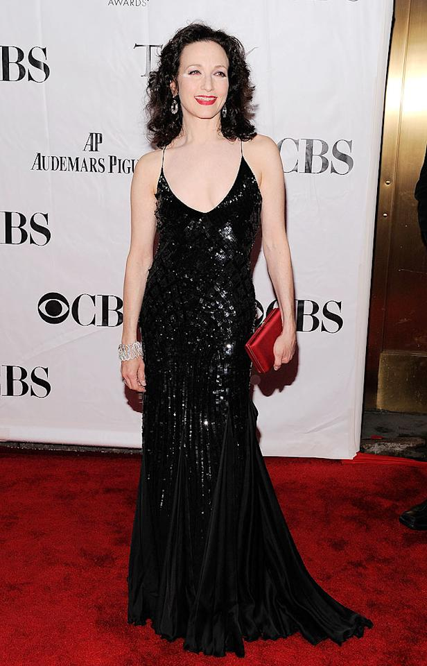 """Kelsey's former TV wife, Bebe Neuwirth -- who played uptight psychiatrist Lillith Sternin on both """"Cheers"""" and """"Frasier"""" -- was quite elegant in her black gown, which featured an interesting texture, spaghetti straps, and a small train. Unfortunately, her hairdo didn't work. Jemal Countess/<a href=""""http://www.wireimage.com"""" target=""""new"""">WireImage.com</a> - June 13, 2010"""