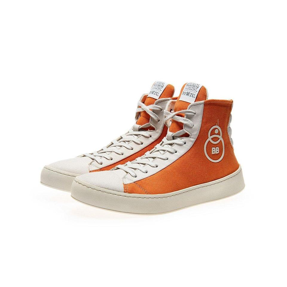<p>Yes, we know BB-8 has no feet, but we couldn't resist including these bad boys. These high-top vegan lace-up Sneaker with a rubberised BB-8 droid badge, are on sale now for £120. (Po-Zu) </p>