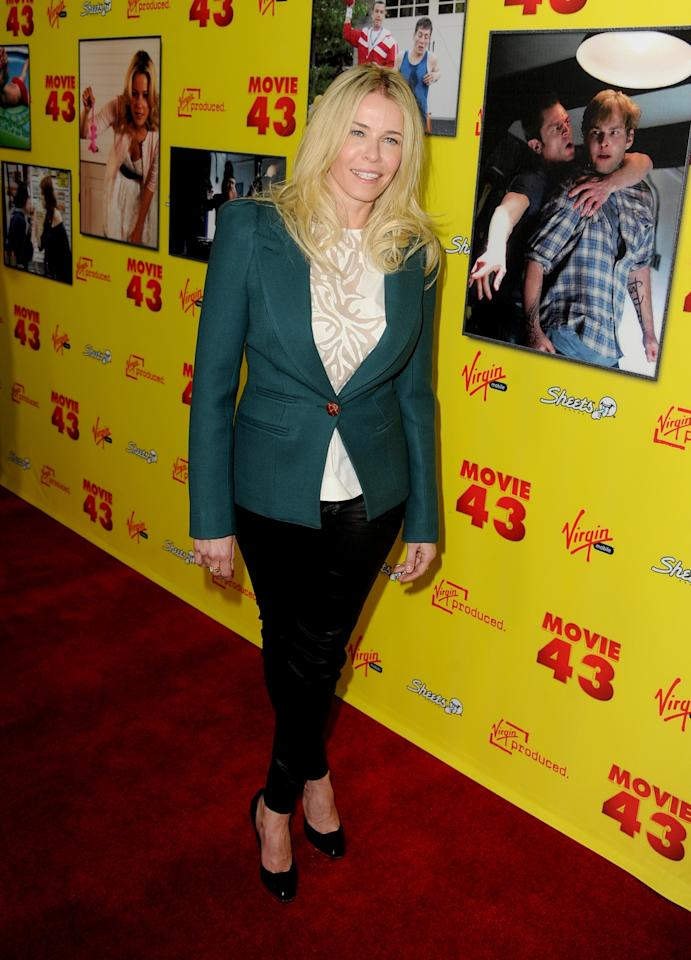 """HOLLYWOOD, CA - JANUARY 23:  TV personality Chelsea Handler attends the premiere of Relativity Media's """"Movie 43"""" at TCL Chinese Theatre on January 23, 2013 in Hollywood, California.  (Photo by Kevin Winter/Getty Images)"""