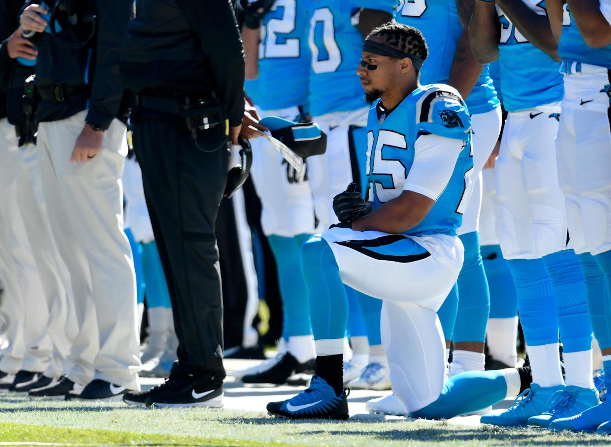 Eric Reid explained in detail on Sunday exactly why he believes Malcolm Jenkins is a sellout. (Getty)
