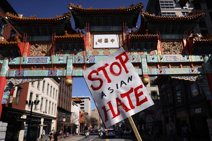 Activists in Washington, D.C., took part in a rally in response to the Atlanta, Georgia spa shootings that left eight people dead, including six Asian women.