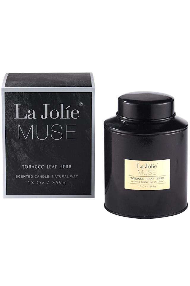 """<p><strong>LA JOLIE MUSE</strong></p><p>amazon.com</p><p><strong>$7.09</strong></p><p><a href=""""http://www.amazon.com/dp/B07F785D3M/?tag=syn-yahoo-20&ascsubtag=%5Bartid%7C10049.g.28428702%5Bsrc%7Cyahoo-us"""" target=""""_blank"""">Shop Now</a></p><p>Tobacco leaf definitely has a rich scent, but it's balanced out with the notes of light vanilla. It also has up to 90 hours of burn time and the black vessel looks subtle in any living space. </p>"""