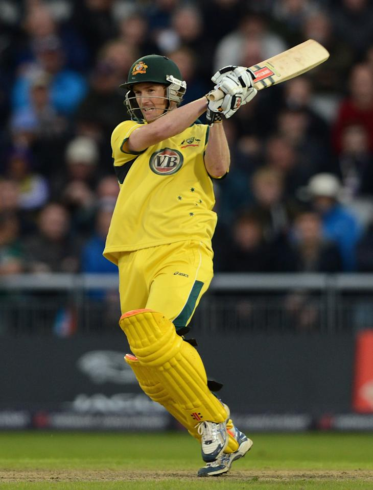 MANCHESTER, ENGLAND - JULY 10:  George Bailey of Australia bats during the 5th Natwest One Day International match between England and Australia at Old Trafford on July 10, 2012 in Manchester, England.  (Photo by Gareth Copley/Getty Images)