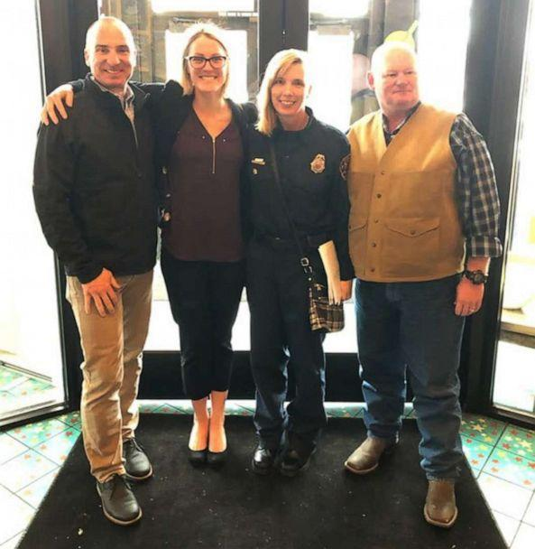 PHOTO: Lt. Tracy Post, second from right, poses with friends and colleagues after getting coverage for firefighters with breast cancer in Colorado. (Courtesy Tracy Post)