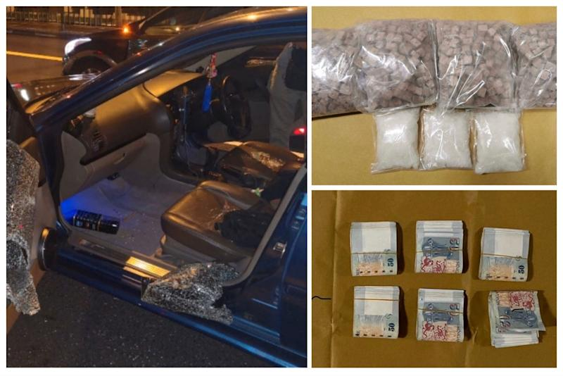 From left to top right: Interior of Malaysia-registered car, heroin and 'Ice' seized, and cash found on Malaysian male suspect (Photo: Central Narcotics Bureau)