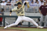 Vanderbilt pitcher Jack Leiter throws during the fourth inning against Mississippi State in Game 1 of the NCAA College World Series baseball finals, Monday, June 28, 2021, in Omaha, Neb. (AP Photo/Rebecca S. Gratz)