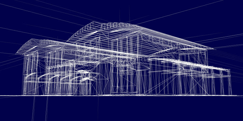 A computer-assisted design (CAD) blueprint wireframe drawing of a commercial building.