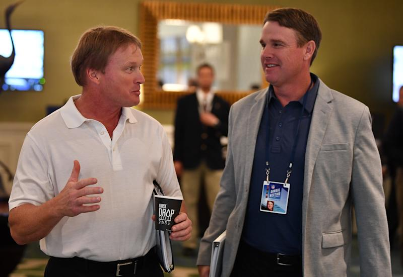 ORLANDO, FL - MARCH 26: Oakland Raiders head coach Jon Gruden and brother and Washington Redskins head coach Jay Gruden attend the 2018 NFL Annual Meetings at the Ritz Carlton Orlando, Great Lakes on March 26, 2018 in Orlando, Florida. (Photo by B51/Mark Brown/Getty Images)