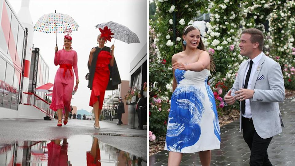 A bit of rain isn't going to be enough to keep punters away from Flemington. Images: AAP