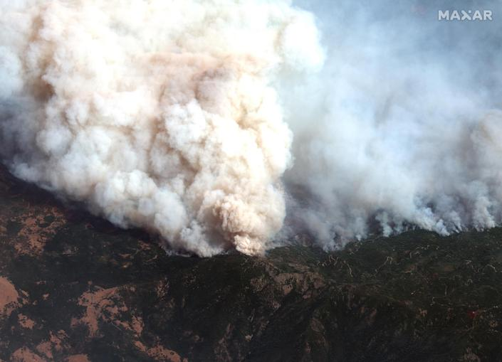 Fires burning near Big Signal Peak in the Mendocino National Forest in California, part of the August Complex Fire, on Sept. 14. (Satellite image ©2020 Maxar Technologies)