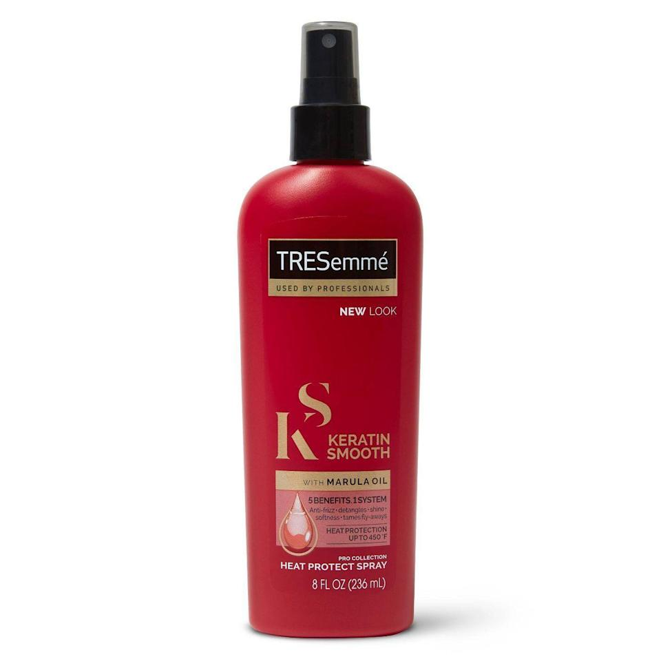 "<p><strong>Tresemme</strong></p><p>target.com</p><p><strong>$4.99</strong></p><p><a href=""https://www.target.com/p/tresemme-keratin-smooth-flat-iron-smoothing-spray-8-fl-oz/-/A-14382217"" rel=""nofollow noopener"" target=""_blank"" data-ylk=""slk:Shop Now"" class=""link rapid-noclick-resp"">Shop Now</a></p><p>Formulated for use with flat irons, Tresemme's smoothing treatment features hydrolyzed keratin and 450-degree protection. Oh, and did we mention it's $5? </p>"